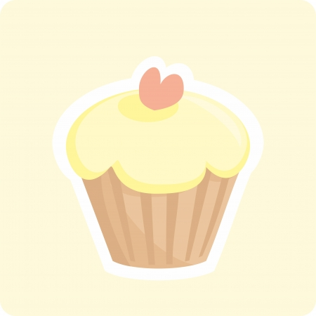 Sweet retro cupcake with heart on yellow background  Button, logo or invitation card  Vector valentines illustration Stock Vector - 17588866