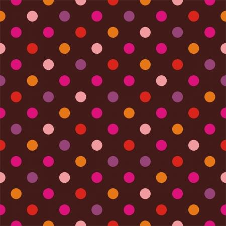 lunares rojos: Seamless pattern vector, textura o el fondo con colores rosa, amarillo, naranja, violeta y calientes polka puntos rojos sobre fondo oscuro. Para los sitios web, desktop wallpaper, Valentines, boda