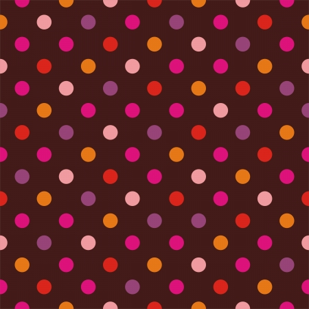 Seamless vector pattern, texture or background with colorful pink, yellow, orange, violet and hot red polka dots on dark background. For websites, desktop wallpaper, valentines, wedding  Vector