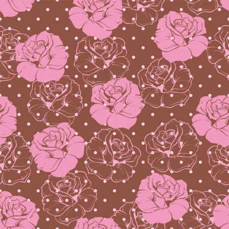 Seamless floral pattern  elegant pink rose background. Beautiful abstract texture with pink flowers and polka dots on dark brown background Stock Vector - 17696319