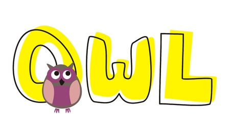 O is for owl - vector preschool illustration with funny staring owl sitting on hand drawn doodle word. Cute, cartoon symbol of wisdom draft for learning words and school coloring book.  Vector