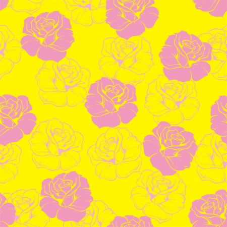 Seamless retro floral pattern with pink roses on neon yellow background. For website design, desktop wallpaper, fashion blog. Stock Vector - 17810218