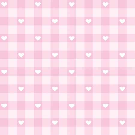 gingham pattern: Seamless pink valentines background with cute hearts - sweet vector pattern