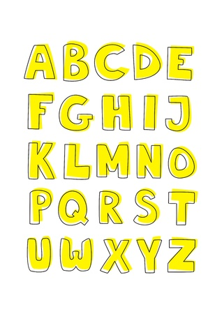 Kids vector alphabet letters hand drawn doodle cartoon yellow and black sign set isolated on white background