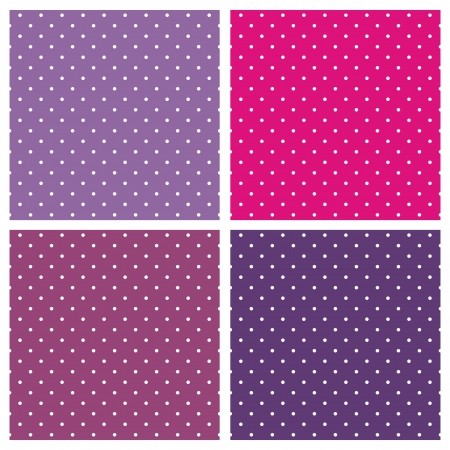 Vector set of sweet seamless patterns or textures with white polka dots on pastel, hot colorful background: baby pink and vintage violet. Vectores