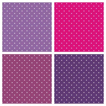Wektor zestaw słodkich wzorów i tekstur bez szwu, z białymi kropkami na pastelowej, ciepłej kolorowe tło: baby pink i rocznika fioletowego.