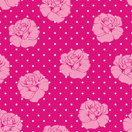 Seamless vector floral vintage pattern elegant pink rose background. Beautiful abstract texture with pink flowers and polka dots on neon pink background