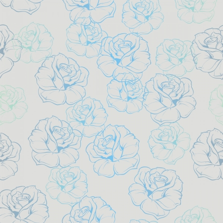 seamless floral pattern with retro blue roses on grey background. For vintage web design, fancy blog or desktop wallpaper. Stock Vector - 18032262