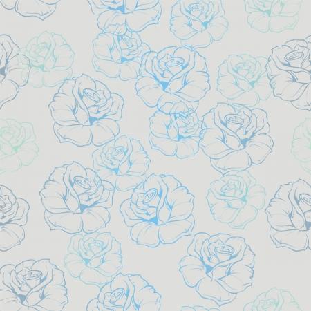 desktop wallpaper: seamless floral retro con las rosas azules sobre fondo gris. Para el dise�o de la vendimia web, blog o fantas�a fondo de escritorio. Vectores
