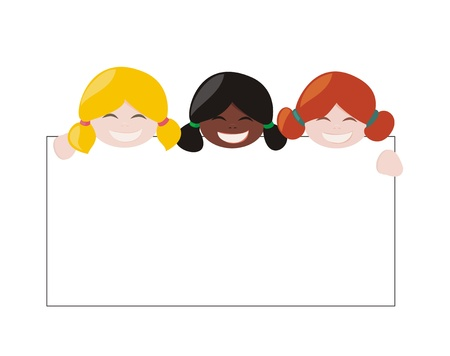 holding notes: Mulicultural girls holding white empty banner  Illustration