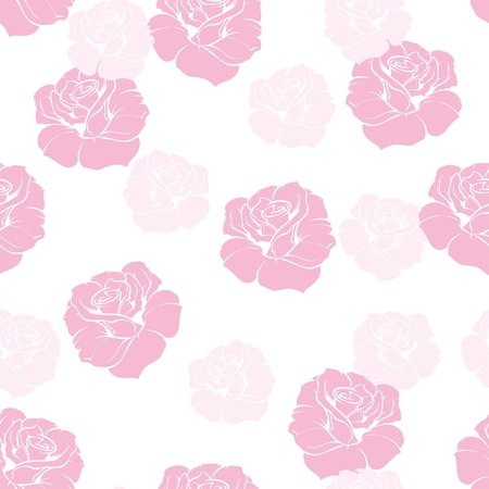 Seamless floral pattern elegant pink rose background. Beautiful, romantic abstract texture with pink flowers on pure white background  Vector