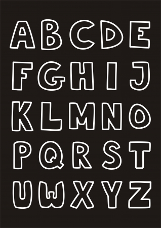 Kids alphabet letters hand drawn doodle cartoon white and black sign set isolated on black background Stock Vector - 18159303