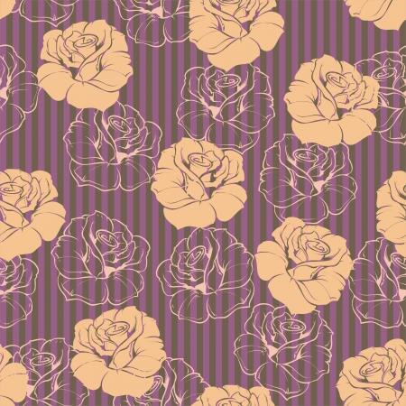 dark beige: Seamless vector floral vintage pattern elegant pink rose background. Beautiful abstract texture with beige flowers and retro stripes wallpaper dark violet background
