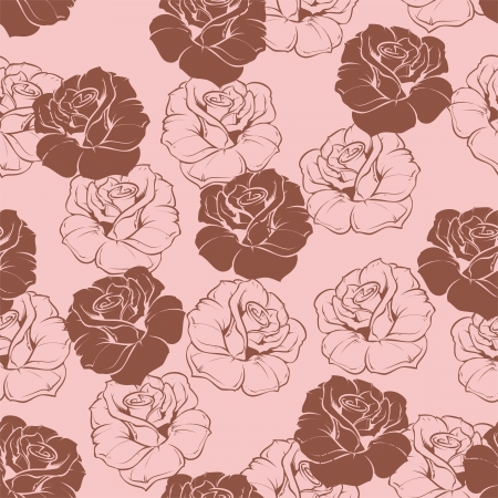 Seamless vector floral pattern with pink and dark, chocolate brown roses on sweet baby pink yellow background. Beautiful abstract vintage texture with pink flowers and cute background. Stock Vector - 18302171