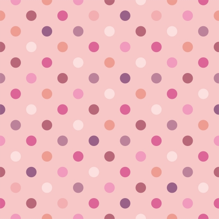 Colorful vector background with polka dots on baby pink background - retro seamless pattern or texture for desktop wallpaper, blog, www, scrapbooks, party or baby shower invitations, wedding cards. Illustration