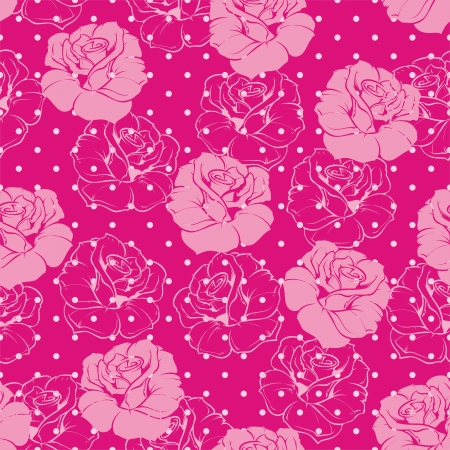 Seamless vector floral pattern elegant pink rose background. Beautiful abstract texture with pink flowers and polka dots on hot pink background  Stock Vector - 18391317