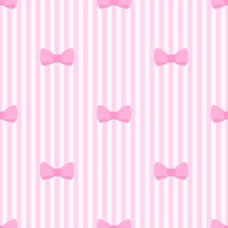 Jednolite wzór z kokardkami na pastelowym tle różowe paski. Dla karty, zaproszenia, albumy ślubne lub dziecko prysznicem, tła, sztuki i albumy. Ilustracja