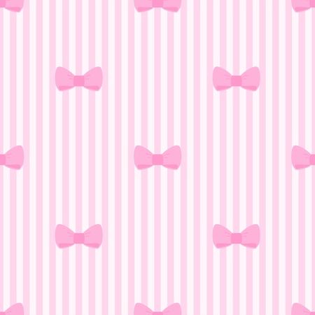 Seamless pattern with bows on a pastel pink strips background. For cards, invitations, wedding or baby shower albums, backgrounds, arts and scrapbooks.  Vector