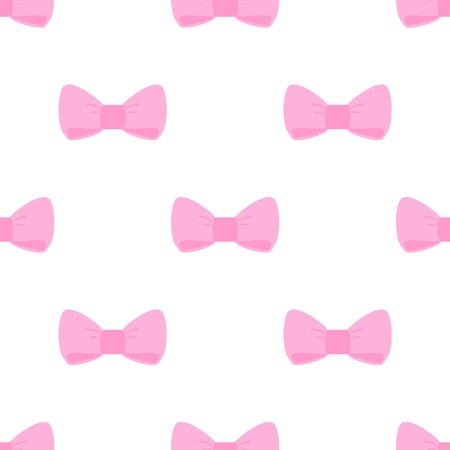 girls with bows: Seamless vector pattern with sweet pink bows on white background. For cards, invitations, wedding or baby shower albums, backgrounds, arts and scrapbooks.