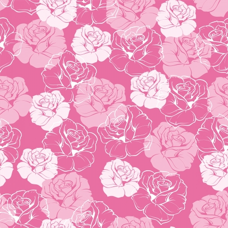 Seamless floral pattern with pink and white roses on sweet baby pink background  Beautiful abstract vintage texture with classic flowers and cute background   Stock Vector - 18931158