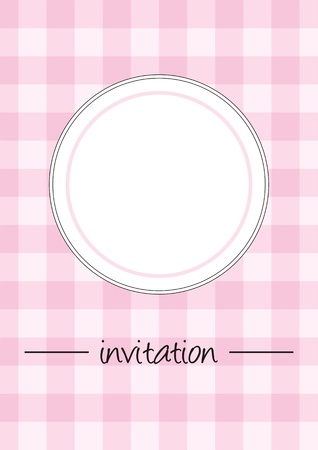 Sweet retro pink vintage vector card or invitation with checkered pattern or grid texture and white space like plate or place for photo. Button, restaurant menu card, baby shower or opening invitation.  Vector