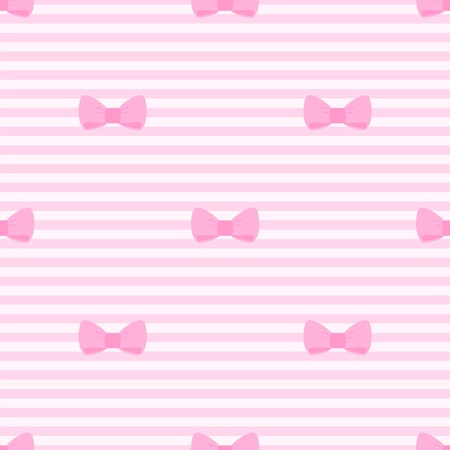 Seamless vector pattern with bows on a pastel pink strips background. For cards, invitations, wedding or baby shower albums, backgrounds, arts and scrapbooks.