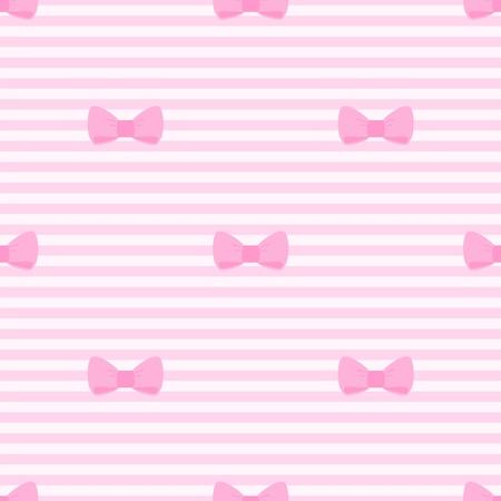 moño rosa: Sin fisuras vector patrón con arcos sobre un fondo rosa pastel tiras. Para álbumes ducha tarjetas, invitaciones, boda o el bebé, fondos, arte y libros de recuerdos. Vectores