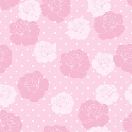 Modelo floral inconsútil del vector con las rosas rosadas y blancas en dulce caramelo de color rosa polka dots fondo Hermosa textura vendimia con flores de color rosa y fondo lindo Ilustración de vector