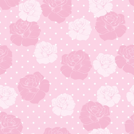 Seamless vector floral pattern with pink and white roses on sweet candy pink polka dots background  Beautiful abstract vintage texture with pink flowers and cute background Stock Vector - 19260999