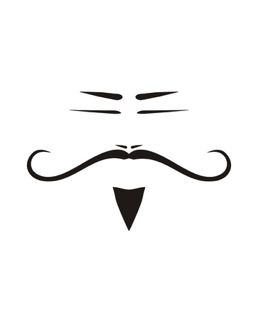 slanted: Chinese traditional old man face with big long mustache, beard and slanted eyes  Black silhouette isolated on white background Illustration