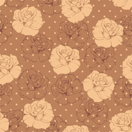 Seamless floral pattern with beige roses on brown background with polka dots  Beautiful abstract vintage texture with beige flowers and cute polka dots brown background   Stock Vector - 19338276