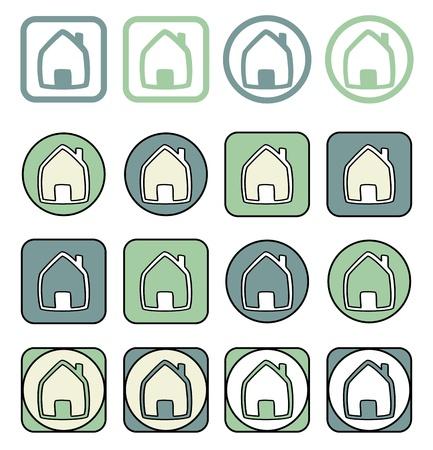 icone maison: Accueil icon set. Maison dans diff�rentes formes isol�es sur fond blanc. Immobilier signe ou symbole
