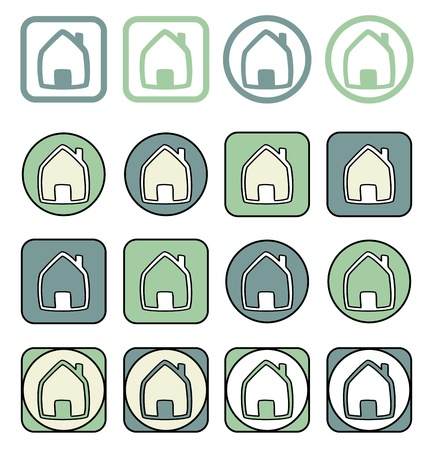 icono inicio: Establece Home icon. Casa en diferentes formas aisladas sobre fondo blanco. Signo de bienes ra�ces o un s�mbolo