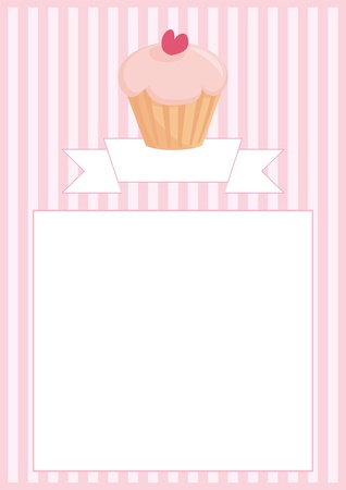 Sweet retro cupcake on pink vintage strips background with stripes and white space for your own text message. Button, restaurant menu card, list or wedding invitation.  Vector