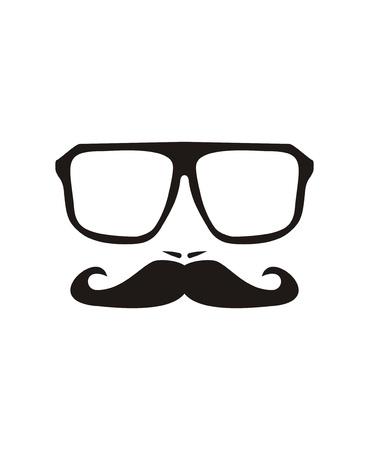 mannen gezicht met snor en enorme, hipster bril