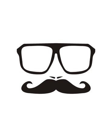 black head and moustache: men face with mustache and huge, hipster glasses