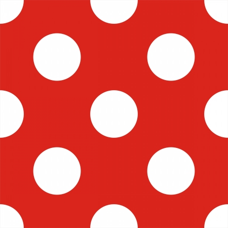 Retro seamless pattern or texture with big white polka dots on red background Ilustracja