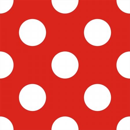 red polka dots: Retro sin fisuras patr�n o textura con grandes lunares blancos sobre fondo rojo Vectores