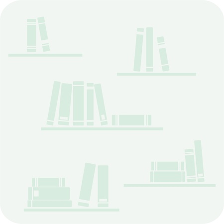 public library: Books on the shelves simply retro vector illustration. Vintage shelf - design objects button on mint green hipster background for decorations, background or sign. Illustration