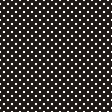 Seamless vector pattern with white polka dots on black background. For desktop wallpaper, web design, cards, invitations, backgrounds, arts and scrapbooks