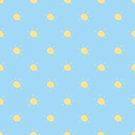 Seamless vector pattern, background or texture with yellow sun on sky blue background. Design element for desktop wallpaper, web design or blog Vector