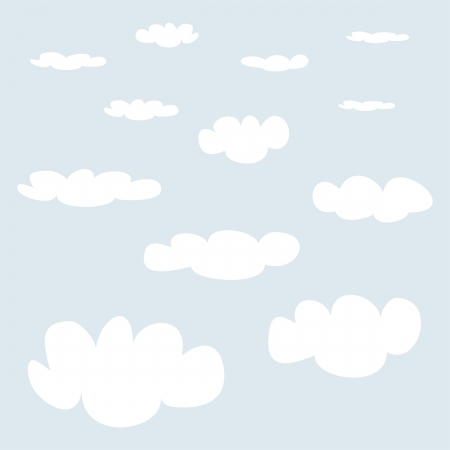 White clouds on light blue sky background set. Cloud computing concept cartoon collection for design and use in a social networks or illustration  Vector
