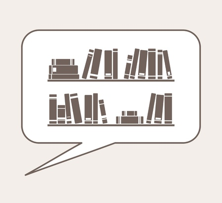 simply: Talking or thinking about knowledge, library, learning - books on the shelves simply retro vector illustration in speech bubble balloon   Illustration