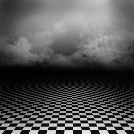 dark clouds: Empty, dark, psychedelic artistic image with black and white checker floor on the ground and ray of light in cloudy, dark sky  Gothic, drama background for poster or wonderland image   Stock Photo