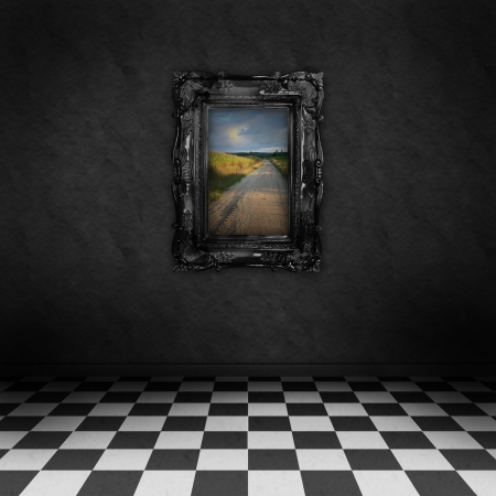 psychedelic artistic image of room with black and white checker on the floor  photo