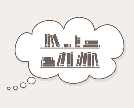 bibliography: Thinking about learning, study, knowledge or library, - books on the shelves simply retro vector illustration in speech bubble balloon