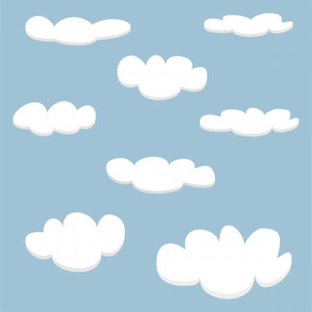 Vector white clouds on blue sky background set  Cloud computing concept cartoon collection for flat design and use in a social networks or illustration  Vector