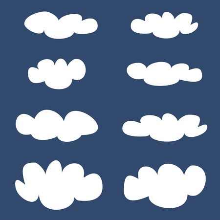 weather balloon: White vector clouds on dark blue sky background set  Cloud computing concept cartoon collection for flat design and use in a social networks or illustration  Illustration