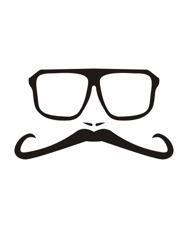 truck driver: Vector Men face with long mustache and huge, hipster glasses  Black american retro truck driver silhouette isolated on white background