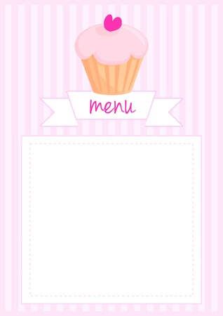 stipes: Vector restaurant menu, wedding vector card, list or baby shower invitation with sweet retro cupcake on pink vintage pattern or stipes texture background with white space for your own text message